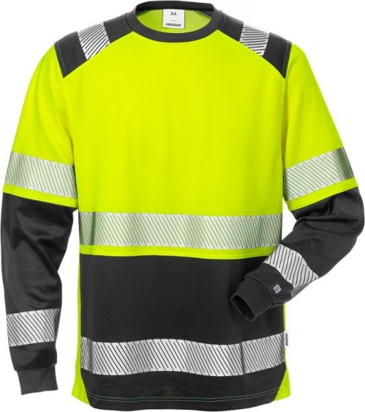 High vis pitkähihainen t-paita lk 2 7457 THV Musta/neonkeltainen
