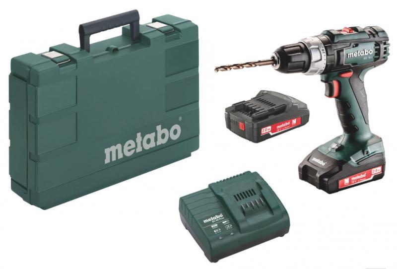 Akkuporakone, Metabo BS 18 L, 18V, 2 x 2,0 Ah Li-Ion akku + SC 60 Plus-laturi
