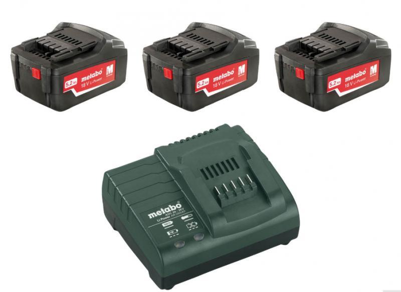 Akku- ja laturipaketti, Metabo, 18V, 3 x 4,0 Ah Li-Power akku ja ASC 30-36V-laturi