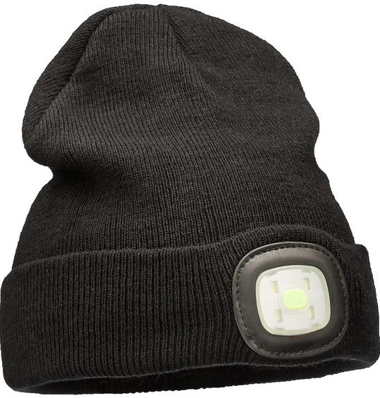 Brightsolar Beanie USB-ladattava LED pipo, harmaa ja musta