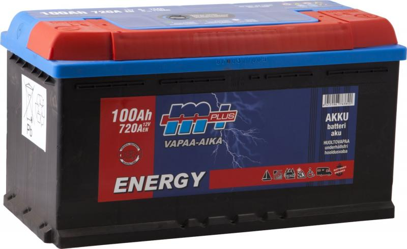 M+ Energy akku Vapaa-aika 100Ah 720A 12V (350x175x190) (-/+ )