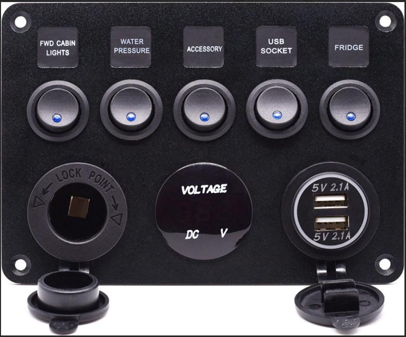 Brightsolar 12/24V ohjauspaneeli jännitemittarilla ja USB portilla