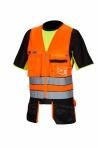 Huomiovärinen riipputaskuliivi oranssi/musta EN 20471 Lk.1 - 4040