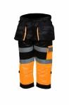 Huomioväriset capri riipputaskuhousut oranssi/musta EN 20471 Lk.1 - 4329