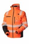 Huomiovärinen vedenpitävä talvipusero lämmityksellä oranssi/musta EN 20471 Lk.2 - 4341